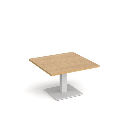 Brescia square coffee table with flat square white base 800mm - oak