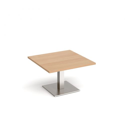 Brescia square coffee table with flat square brushed steel base 800mm - beech
