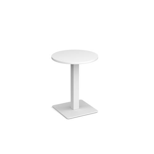 Brescia circular dining table with flat square white base 600mm - white