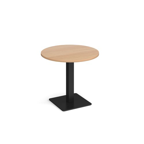 Brescia circular dining table with flat square black base 800mm - beech