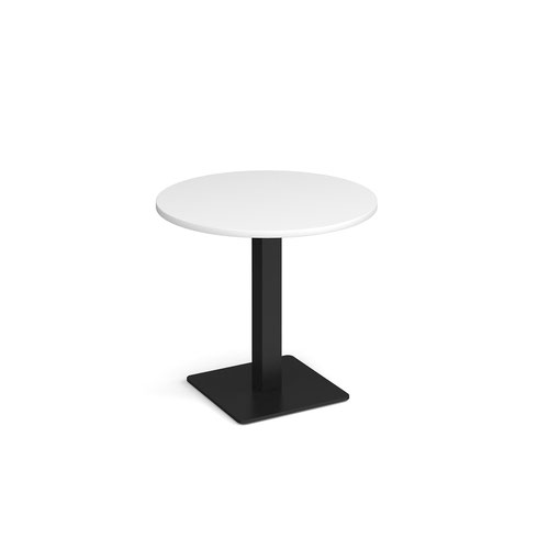 Brescia circular dining table with flat square black base 800mm - white