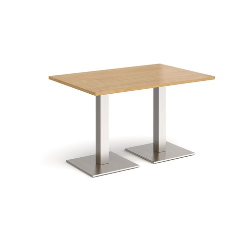 Brescia rectangular dining table with flat square brushed steel bases 1200mm x 800mm - oak
