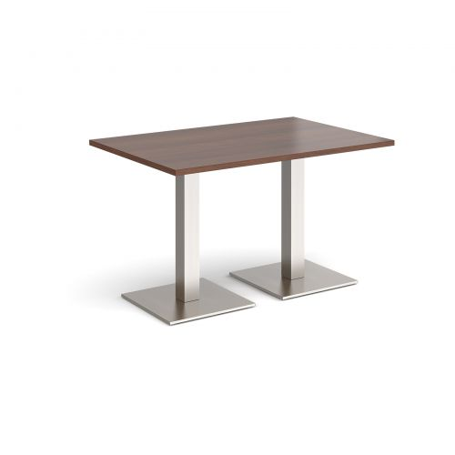 Brescia rectangular dining table with flat square brushed steel bases 1200mm x 800mm - walnut