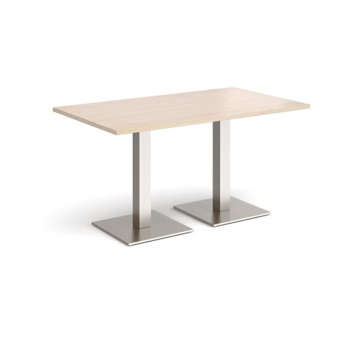 Brescia rectangular dining table with flat square brushed steel bases 1400mm x 800mm - maple