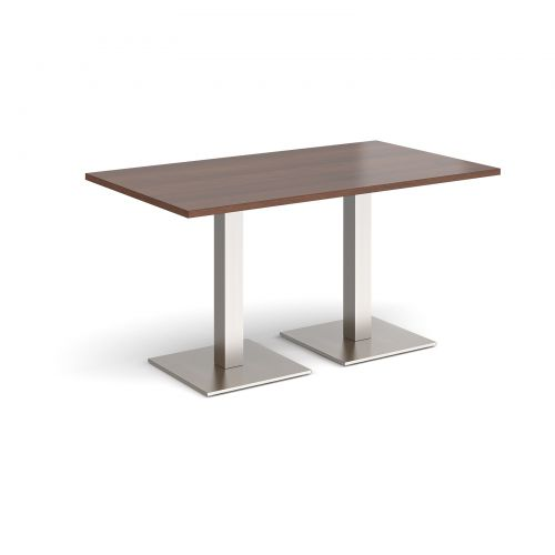Brescia rectangular dining table with flat square brushed steel bases 1400mm x 800mm - walnut