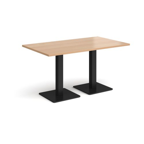 Brescia rectangular dining table with flat square black bases 1400mm x 800mm - beech