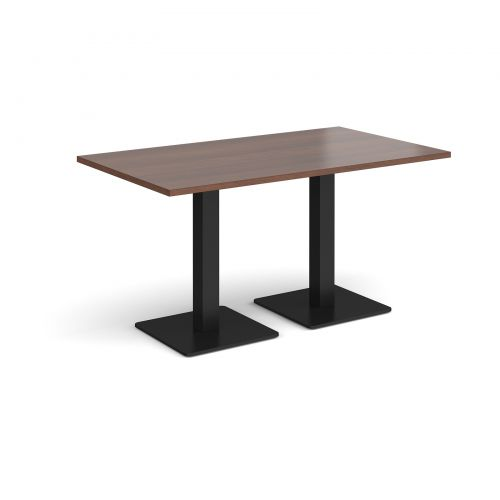 Brescia rectangular dining table with flat square black bases 1400mm x 800mm - walnut