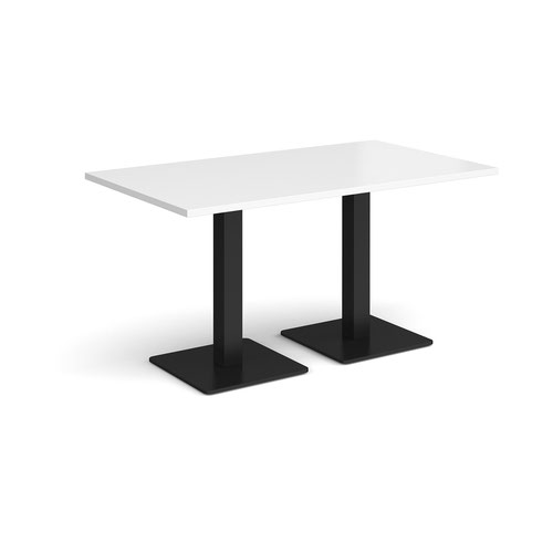 Brescia rectangular dining table with flat square black bases 1400mm x 800mm - white