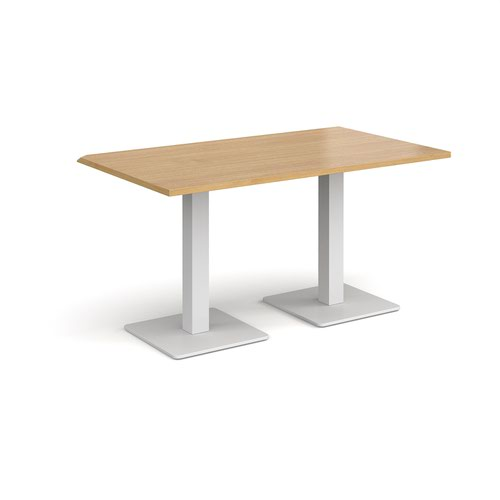 Brescia rectangular dining table with flat square white bases 1400mm x 800mm - oak