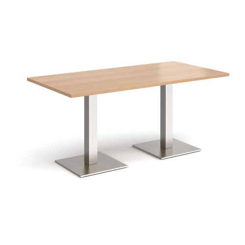 Brescia rectangular dining table with flat square brushed steel bases 1600mm x 800mm - beech