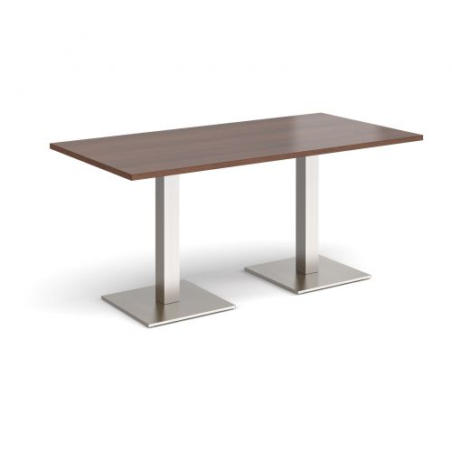 Brescia rectangular dining table with flat square brushed steel bases 1600mm x 800mm - walnut