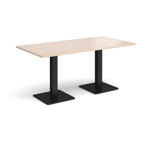 Brescia rectangular dining table with flat square black bases 1600mm x 800mm - maple