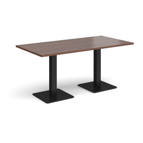 Brescia rectangular dining table with flat square black bases 1600mm x 800mm - walnut