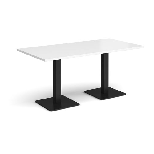 Brescia rectangular dining table with flat square black bases 1600mm x 800mm - white
