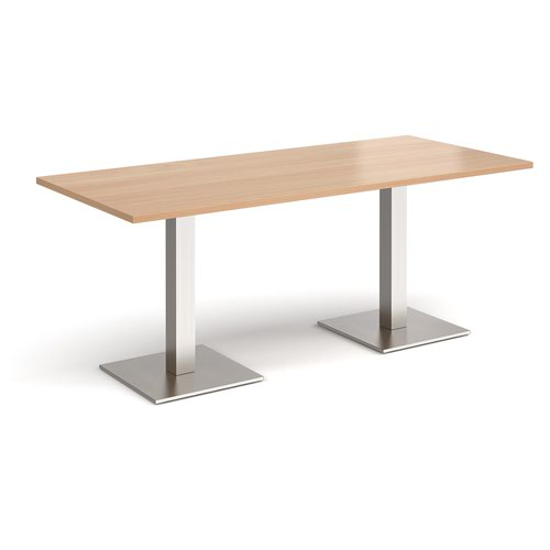 Brescia rectangular dining table with flat square brushed steel bases 1800mm x 800mm - beech