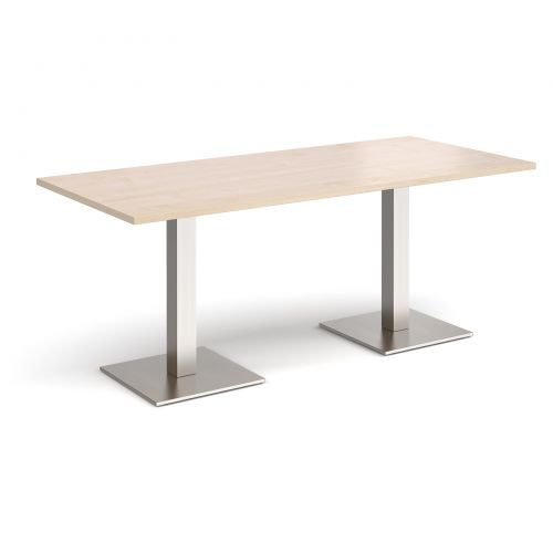 Brescia rectangular dining table with flat square brushed steel bases 1800mm x 800mm - maple