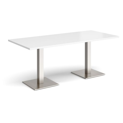 Brescia rectangular dining table with flat square brushed steel bases 1800mm x 800mm - white