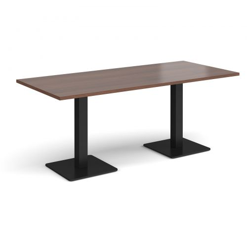 Brescia rectangular dining table with flat square black bases 1800mm x 800mm - walnut