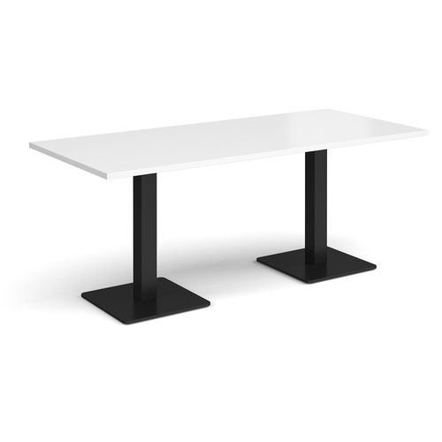 Brescia rectangular dining table with flat square black bases 1800mm x 800mm - white
