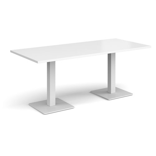 Brescia rectangular dining table with flat square white bases 1800mm x 800mm - white