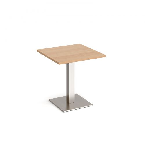 Brescia square dining table with flat square brushed steel base 700mm - beech