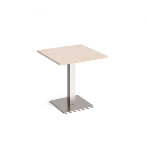 Brescia square dining table with flat square brushed steel base 700mm - maple
