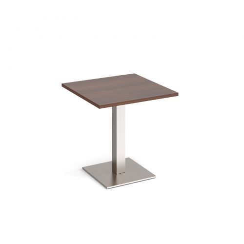 Brescia square dining table with flat square brushed steel base 700mm - walnut