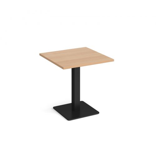 Brescia square dining table with flat square black base 700mm - beech
