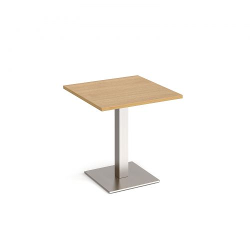 Brescia square dining table with flat square brushed steel base 700mm - oak