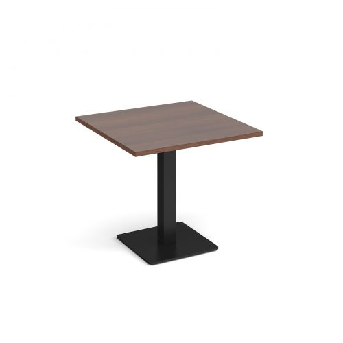 Brescia square dining table with flat square black base 800mm - walnut