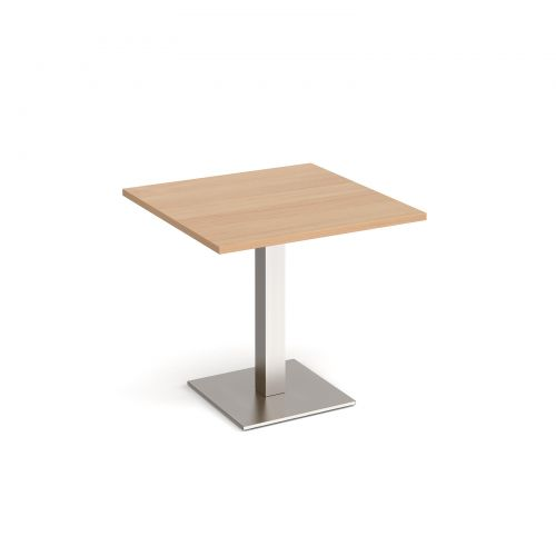 Brescia square dining table with flat square brushed steel base 800mm - beech