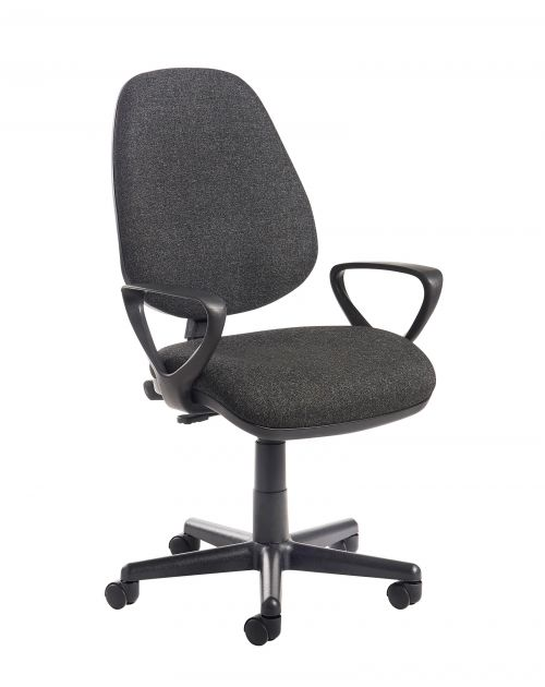 Image for Bilbao fabric operators chair with fixed arms - charcoal