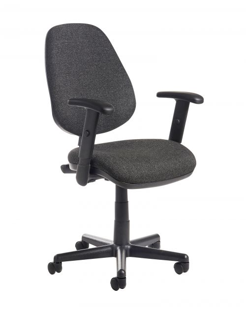 Bilbao fabric operators chair with adjustable arms - charcoal