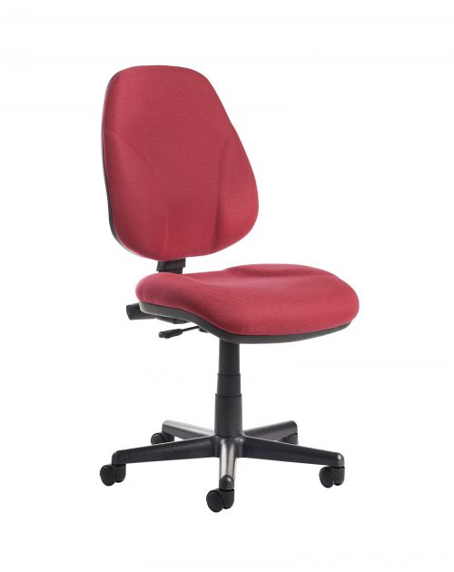Bilbao fabric operators chair with lumbar support and no arms - burgundy