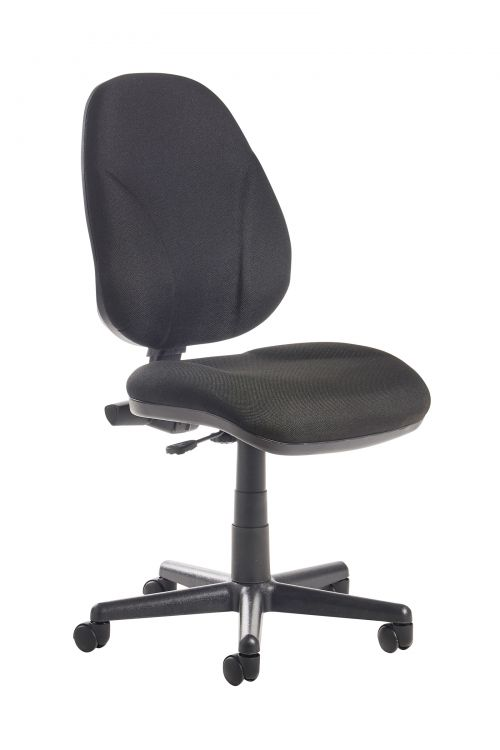 Image for Bilbao fabric operators chair with lumbar support and no arms - black