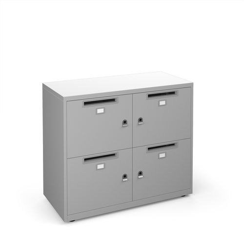 Image for Bisley lodges with 4 doors and letterboxes - silver