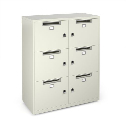 Image for Bisley lodges with 6 doors and letterboxes - white