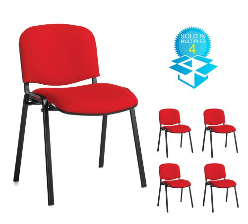 Taurus meeting room stackable chair (box of 4) with black frame and no arms - red