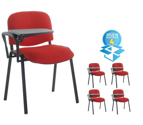 Taurus meeting room chair (box of 4) with black frame and writing tablet - blue