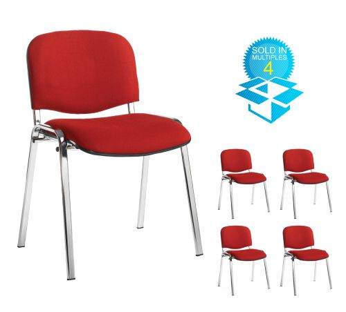 Taurus meeting room stackable chair (box of 4) with chrome frame and no arms - burgundy