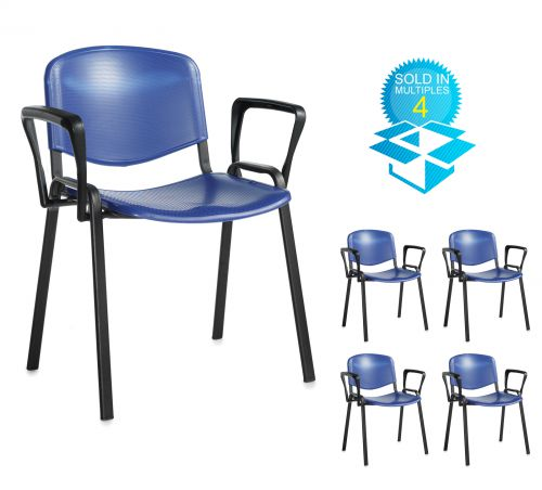 Taurus plastic meeting room stackable chair (box of 4) with fixed arms - blue with black frame