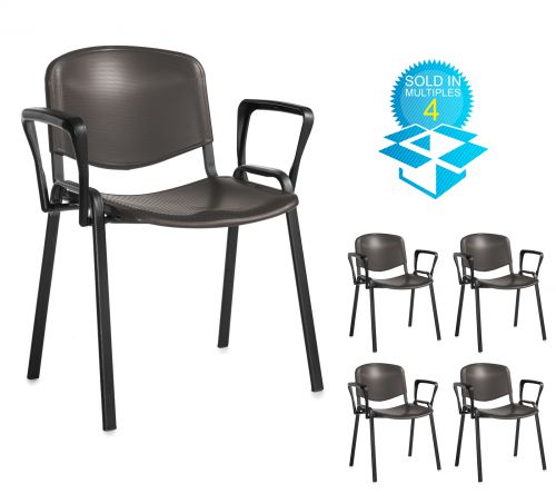 Taurus plastic meeting room stackable chair (box of 4) with fixed arms - black with black frame