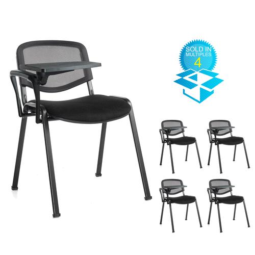 Taurus mesh back meeting room chair (box of 4) with writing tablet - black