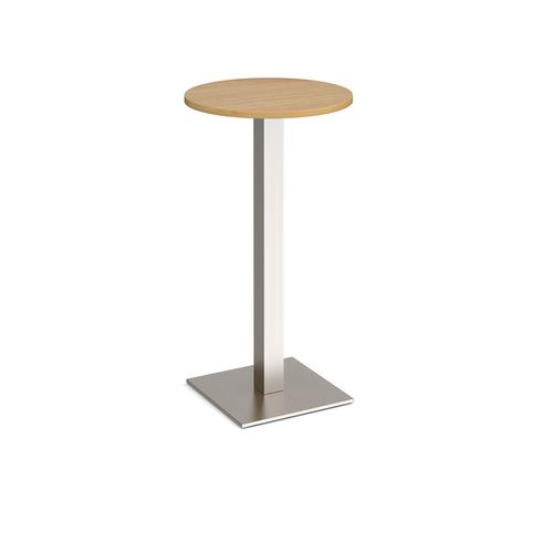 Brescia circular poseur table with flat square brushed steel base 600mm - oak