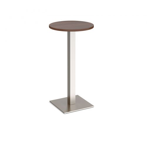 Brescia circular poseur table with flat square brushed steel base 600mm - walnut