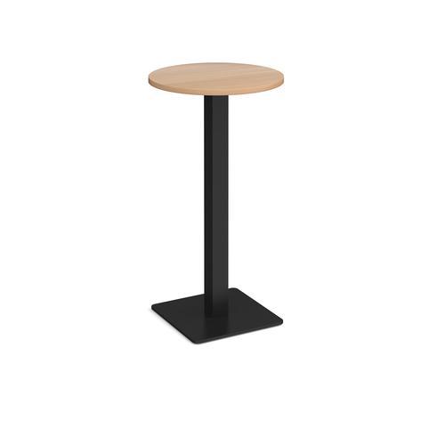 Brescia circular poseur table with flat square black base 600mm - beech