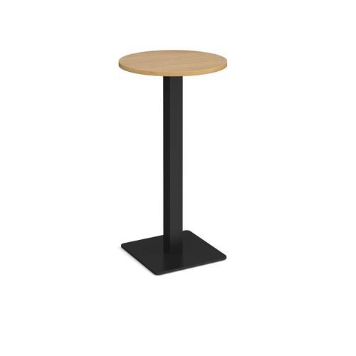 Brescia circular poseur table with flat square black base 600mm - oak