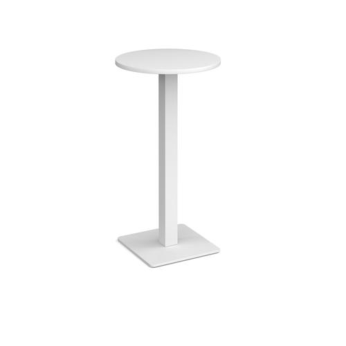 Brescia circular poseur table with flat square white base 600mm - white