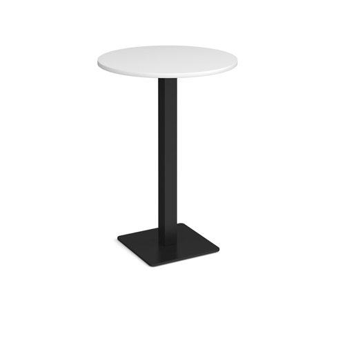 Brescia circular poseur table with flat square black base 800mm - white