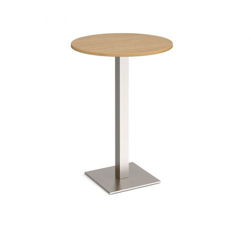 Brescia circular poseur table with flat square brushed steel base 800mm - oak